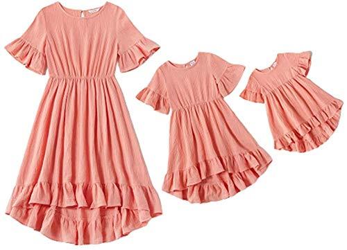 Eghunooye Mutter und Tochter Partnerlook Kleider,2020 Mama und Kind Sommerkleid Rundhals Rüschen Kurzarm Strandkleid Familie Kleidung Matching Outfits (Rosa Baby, 12-18Monate)
