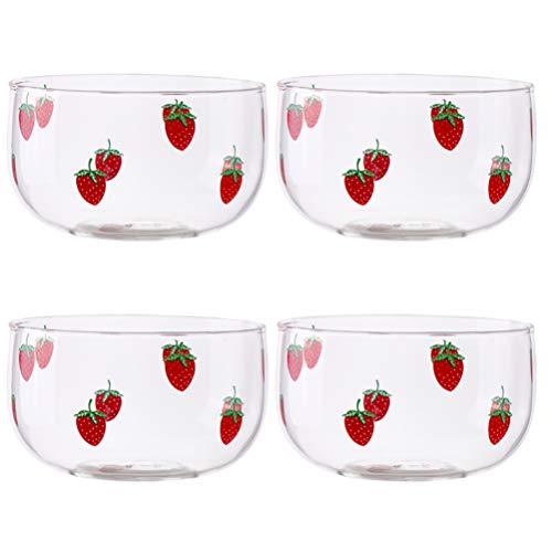 HEMOTON 4Pcs Crystal Clear Salad Bowl Glass Bowls Mixing Bowl Serving Bowl for Kitchen Prep Snack Dessert