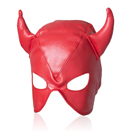 Evaliana Devil Role Play PU Face Mask Horn Masquerade Halloween Costume Party