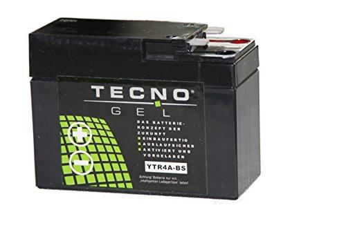 TECNO-GEL Motorrad-Batterie YTR4A-BS, 12V Gel-Batterie 2,3 Ah, 112x48x88 mm inkl. Pfand