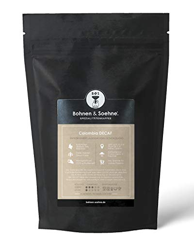 BOHNEN & SOEHNE Colombia Decaf - Entkoffeinierte Kaffeebohnen - Premium Qualität & Direct Trade - Noten Von Schokolade - Ideales Geschenk (1kg)