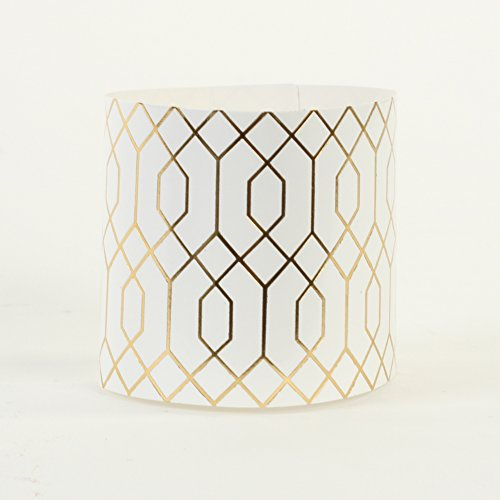 Andaz Press Disposable Napkin Rings, Gold Geometric Hexagon Pattern in Bulk 100-Pack, Thick Paper Napkin Ring Bands Holders for Wedding, Ladies Luncheon,Bridal Shower Party, Mis Quince, Sweet 16