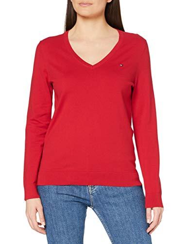Tommy Hilfiger Damen Heritage V-Neck Sweater Pullover, Rot (Apple Red 611), Large (Herstellergröße: L)