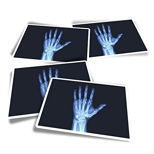 Vinyl Rectangle Stickers (Set of 4) - Human Hand X-Ray Bones Doctor Science Fun Decals for Laptops,Tablets,Luggage,Scrap Booking,Fridges #24450