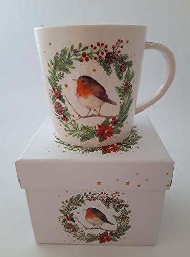 Kaffeebecher Rotkehlchen mit Geschenkbox, Tasse Tiere Tier Geschenkset Winter