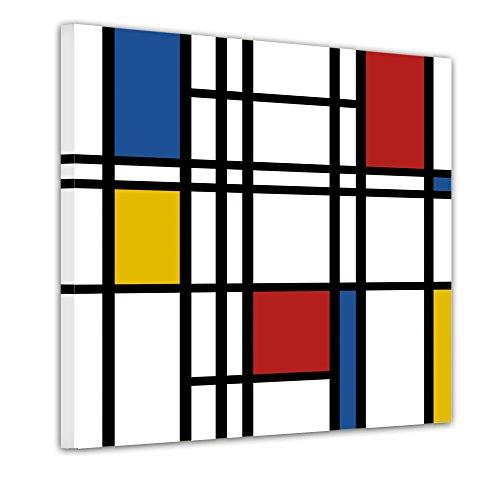 Bilderdepot24 Wandbild - Mondrian Retro - Bild auf Leinwand - 40x40 cm - Leinwandbilder - Wandbild Wandbild Kunst & Life Style - Moderne - Abstrakt - Piet Mondrian - Komposition