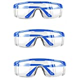 3 PACK Protective Goggles Safety Glasses with Clear Anti Fog Scratch Resistant Wrap-Around Lenses and No-Slip Grips , Protective Eyewear For men & Women Blue Color
