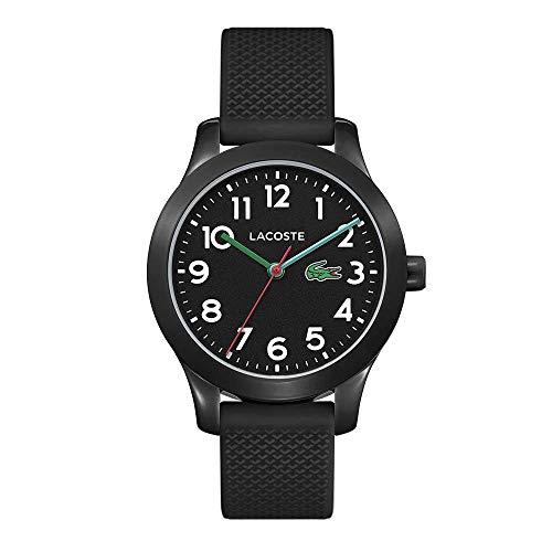 Lacoste Kids 12.12 Quartz Watch with Silicone Strap, Black, 14 (Model: 2030032)