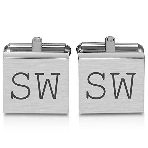 Manschettenknöpfe mit Gravur in silber (Nur Initialen) - personalisierte Geschenke für Herren Hemden- Gravierter Schmuck mit Initialen und Datum
