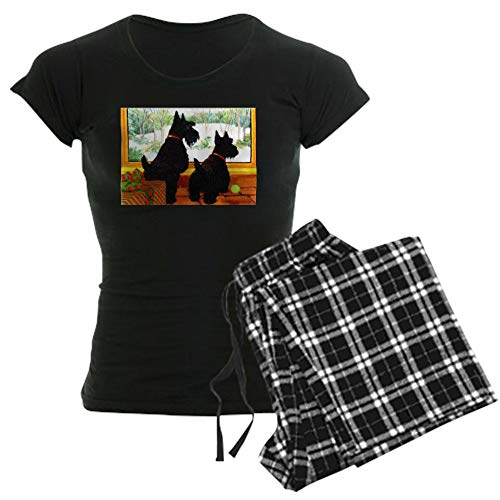 CafePress A Scotty Dog Christmas Womens Novelty Cotton Pajama Set, Comfortable PJ Sleepwear