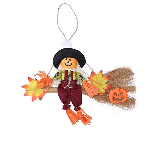 Amosfun Colgante de adorno colgante de bruja escoba de Halloween para decoración de casa encantada