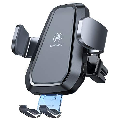 [Upgraded] VANMASS Wireless Car Charger Mount, Qi Certification, Automatic Clamping, Fast Charging, Air Vent Mount for iPhone 12/11/XS Max/XR/8, Samsung S20/10/9/8/7, Note 10, etc
