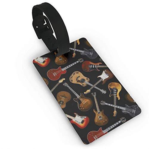 Gitarren schwarz Bedruckt Reisekoffer Kofferanhänger, stilvolle und erkennbare Gepäckanhänger, beschreibbarer Name auf der Rückseite, Autonamen-ID