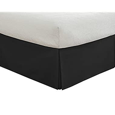 "Lux Hotel Bedding Tailored Bed Skirt, Classic 14"" Drop Length, Pleated Styling, Queen, Black"