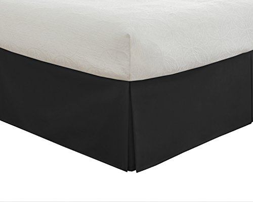 Lux Hotel Tailored Bed Skirt Classic 14' Drop Length Pleated Styling, Queen, Black