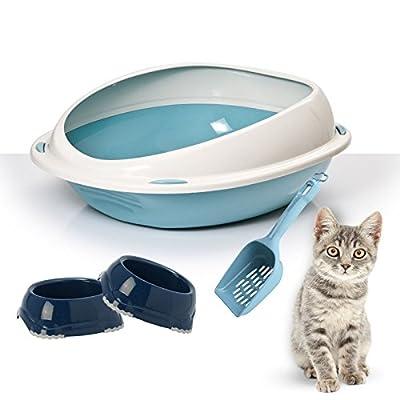 High Rim Cat Litter Tray Bundle + 2 Smarty Bowls + Scoop - Cat Hygeine, Litter Box, Kittens/Cats