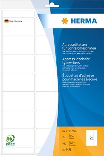 Herma 4431 Adresetiketten voor schrijfmachines en adresprinter (67 x 38 mm) wit, 420 adresstickers, 20 vel DIN A4 papier mat, met langwerpige vergrendeling en spanrand, zelfklevend