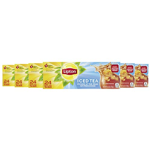 Lipton Family-Size Iced Tea Bags Picked At The Peak of Freshness Unsweetened Tea Can Help Support a Healthy Heart 6 Oz, 24 Count (Pack of 6)