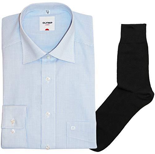 OLYMP Hemd Luxor Comfort Fit - Langarm, New Kent Kragen, hellblau, Gitterkaro + 1 Paar hochwertige Socken, B&le