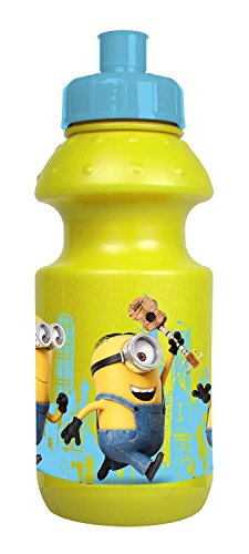 POS 24160 - Trinkflasche mit lustigem Minions Motiv, mit Sportverschluss, Fassungsvermögen ca. 400 ml, aus Kunststoff bpa- und phthalatfrei, für Jungen und Mädchen, für Sport, Schule und Freizeit