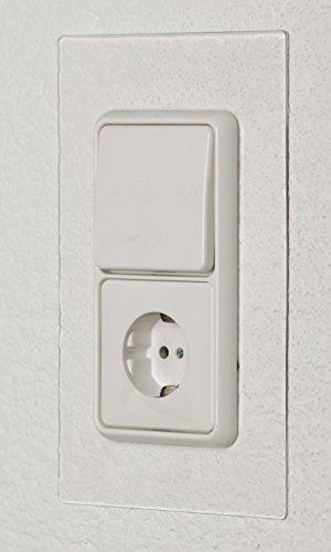 UNITEC Tapetenschoner für 2-fach Steckdosen- und Schalter | Wandschutz | 2 Stück | Weiß/Transparent | Schützt Tapete vor Verschmutzung