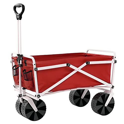 YSC Folding Beach Wagon – Collapsible Cart with Wheels – Utility Shopping Basket – Everyday Carrying Wagon – Large Outdoor Cart – Heavy-Duty Beach Utility Caddy (Red)