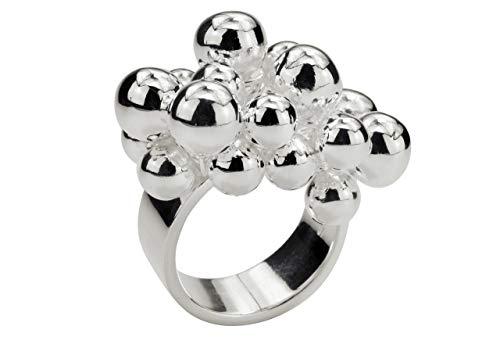 SILBERMOOS Damen Ring Designring mit beweglichen Kugeln Kugelring opulent extravagant 925 Sterling Silber, Größe:58 (18.5)