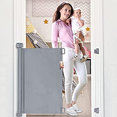 """Retractable Baby Gate, OTTOLIVES Mesh Safety Gate for Babies and Pets, Extra Wide Safety Baby Gate 34"""" Tall, Extends to 54"""" Wide, Flexible Gate for Indoor/Outdoor/Stairs/Doorways/Hallways (Grey)"""