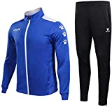 KELME Tracksuit Sets for Mens, Womens, Boys and Girls – 2 Piece Set Includes Track Jacket ans Pants (Royal Blue/White, Small (Adult))