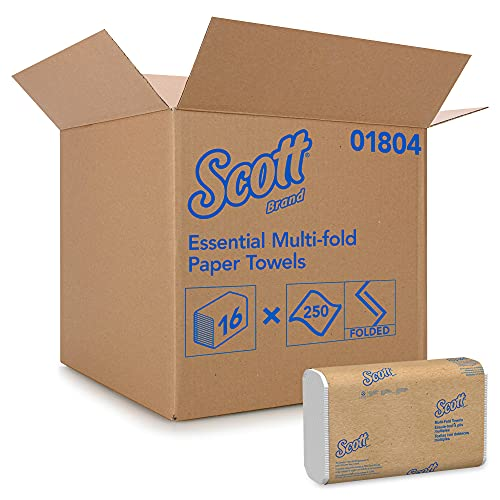 Scott Essential Multifold Paper Towels (01804) with Fast-Drying Absorbency Pockets, White, 16 Packs/Case, 250 Multifold Towels/Pack