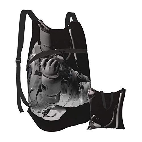 Mochila portátil plegable, mochila para computadora para adultos, espacio satélite blanco, naranja, antirobo, delgada, duradera, para portátiles