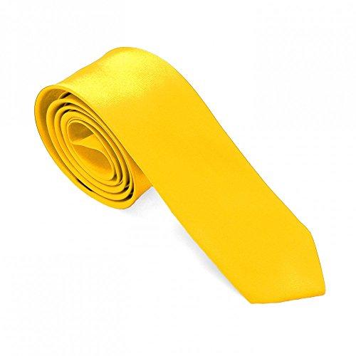 1 Krawatte Gelb Sonnengelb Binder Schmal Fliege Herren Damen Uni Glänzend Business Hochzeit für Hemd Anzug Schlips