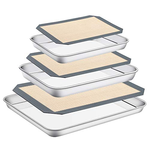 Stainless Steel Baking Sheet with Silicone Mat Set, Set of 6 (3 Sheets + 3 Mats),Size 18,12,9 inch, Estmoon Nonstick Cookie Sheet Baking Pan Non Toxic & Heavy Duty & Easy Clean , Dishwasher Safe