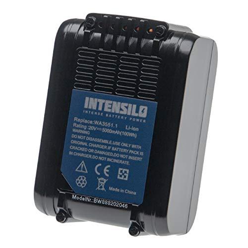 INTENSILO Batería compatible con Worx WX175.1, WX175.9, WX176, WX176.3, WX176.9, WX178, WX178.1, WX178.9 herramientas eléctricas (5000mAh Li-Ion 20V)