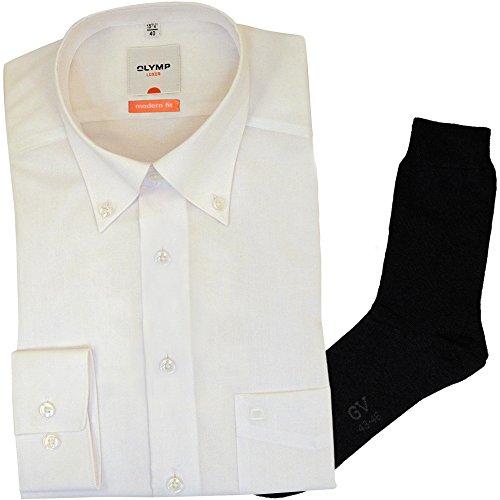 OLYMP Hemd Luxor Modern Fit - weiß, Langarm, Button-Down + 1 Paar hochwertige Socken, B&le