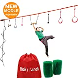 Hokilands Ninja Line Obstacle Course Kit for Kids, 45' Ninja Slackline with 8 Hanging Obstacles & Adjustable Buckles (Climbing Rope Included),Tree Protectors,Carry Bag, Capacity 300lbs