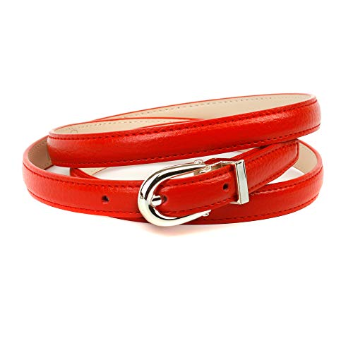 Anthoni Crown Ledergürtel Cinturón, rojo, 90 cm para Mujer