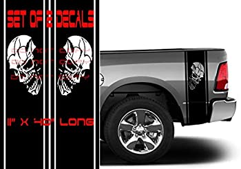 Coza Skull Punisher Rear Bed Vinyl Decals Compatible with Dodge Ram 1500 2500 Ford Tundra Tacoma Toyota or Any Pickup Truck Black Matte