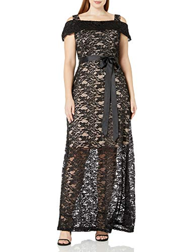 R&M Richards Women's Plus Size one Piece Off The Should Long Laced Gown, Black/TAUP, 14W