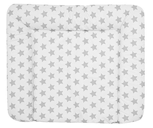 ALVI Wickelauflage Wiko Kuschel 70x85 cm/weiche Wickelunterlage/Wickeltischauflage Folie phthalatfrei beschichtet/Auflage für Wickeltisch ab 0 Monate, Design:Stars silber