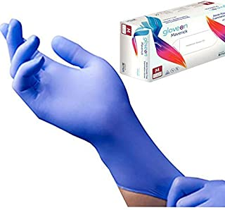 Disposable Nitrile Exam Gloves, 6 mil, Large (Aqua Blue) - Long Cuff, Medical Grade, Latex Free, Powder Free, Food Safe (100 Count by Weight, Size Large)