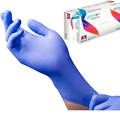 Disposable Nitrile Exam Gloves, 6 mil, Small (Aqua Blue) - Long Cuff, Medical Grade, Latex Free,...