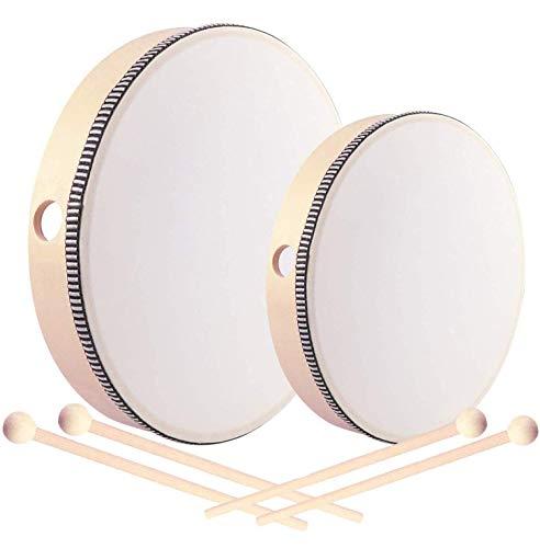 2-teilig handtrommel mit schlägel für kinder,handtrommel percussion,tamburin trommel,tamburin holz,tambourin percussion,trommel mit schlägel