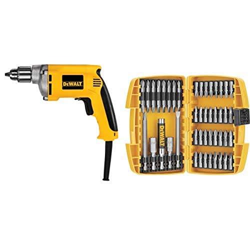 DEWALT DW217 6.7 Amp 1/4-Inch Drill with DEWALT DW2166 45 Piece Screwdriving Set with Tough Case