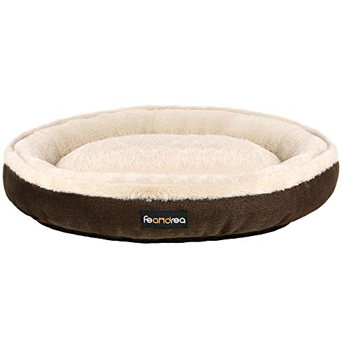 FEANDREA Hundebett, Hundekorb, Katzenbett, Donut, Ø 75 cm, braun PGW075C01