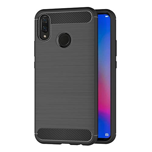 AICEK Cover Huawei P Smart Plus, Nero Custodia Huawei P Smart + Silicone Molle Black Cover per Huawei P Smart Plus Soft TPU Case (6.3 Pollici)