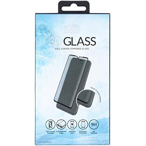 EIGER 3D Glass P30 1 Displayschutzfolie, Huawei P30, staubdicht, Kratzfest, stoßfest, schwarz, transparent, 1 Stück
