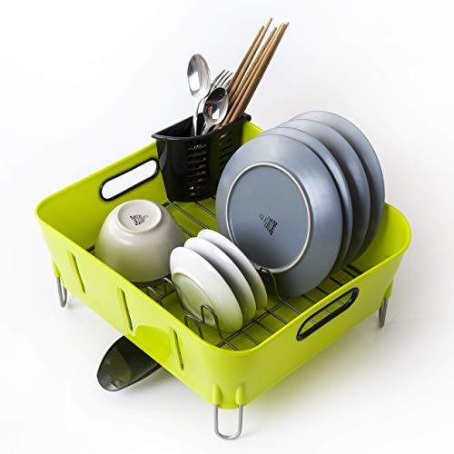 Dish drying rack and drainboard set with adjustable Swivel Spout | Stainless Steel dish drainer for kitchen counter | Contemporary Green/White available