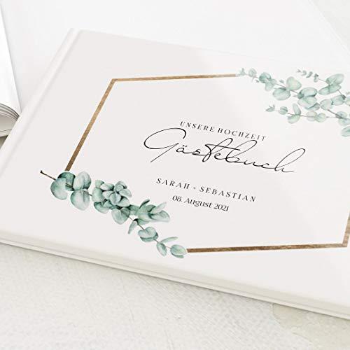 sendmoments Foto Gästebuch Hochzeit Eukalyptus Leaves, personalisiert mit Wunschtext, hochwertiges Hardcover-Buch, Querformat, mit 32 leeren Seiten oder mehr
