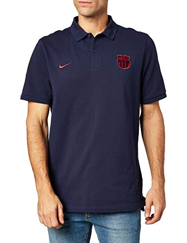 NIKE FCB NSW Pq Cre Long Sleeve Top, Hombre, Obsidian/Noble Red, S